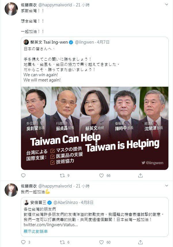 麻衣重啟推特,首發文就是感謝台灣,喊話台日「一起加油(抗疫)」。圖/擷自麻衣推特