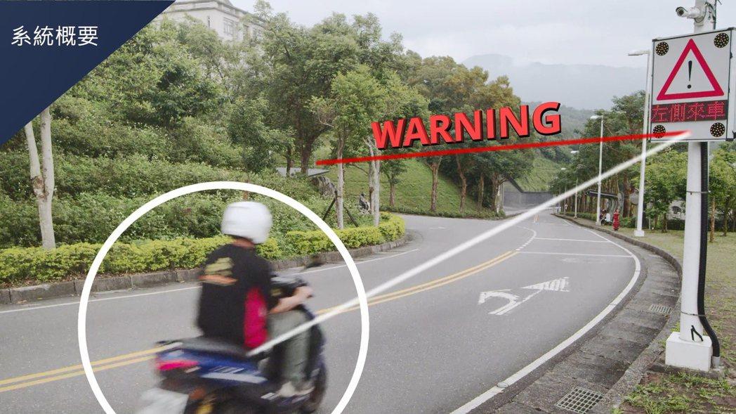 資策會研發「智慧機車安全警示系統」,幫助行駛在交叉路口的車輛,透過路邊警示標誌提...