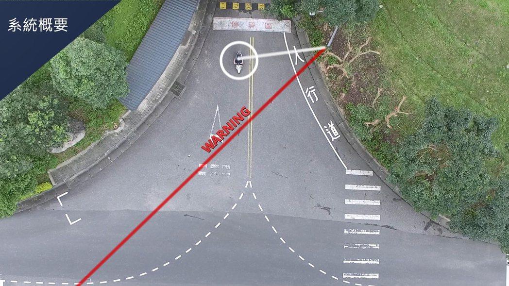 資策會共同研發「智慧機車安全警示系統」,幫助行駛在交叉路口的車輛,透過路邊警示標...