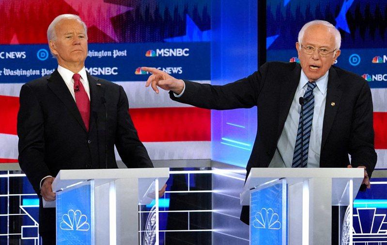 桑德斯(右)退選,民主黨將由拜登(左)挑戰尋求連任的共和黨籍總統川普。 (路透)