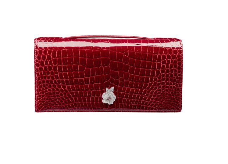 Gem紅色鱷魚皮寶石晚宴包鑲嵌Rose Dior Bagatelle白金、鑽石與...