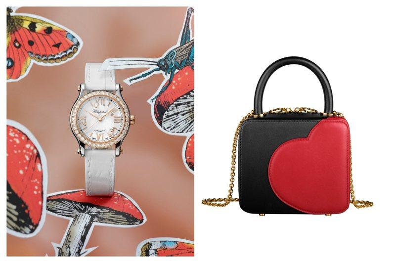 蕭邦母親節推薦(左)Happy Sports系列18K玫瑰金鑽表,50萬8,000元,(右)蕭邦Green Carpet系列晚宴手提包,76,000元。圖/蕭邦提供