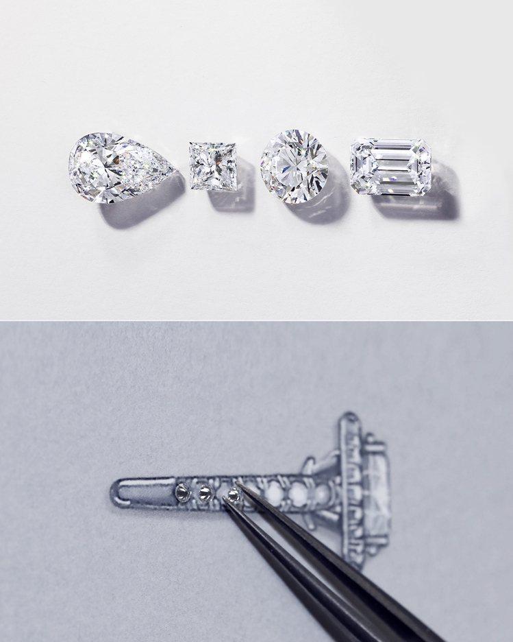 卡地亞Cartier Destinée系列戒指設計,以細節凸顯單顆寶石之美。圖...