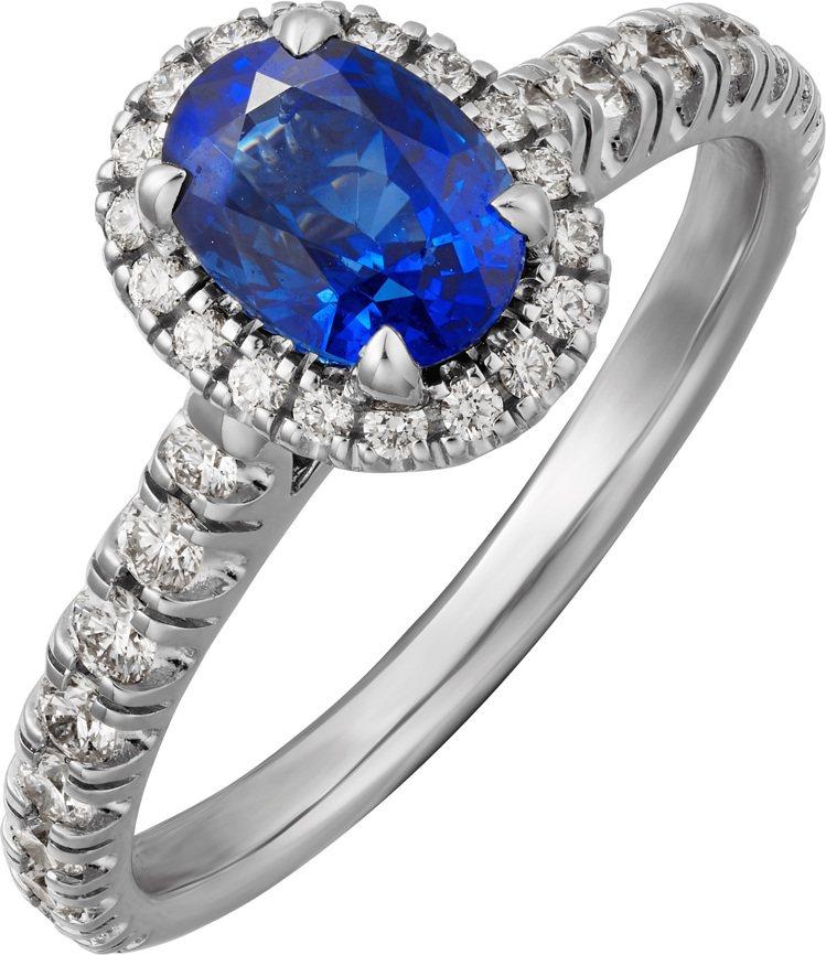 卡地亞Cartier Destinée藍寶石戒指,鉑金鑲嵌枕型或橢圓形切割的藍...