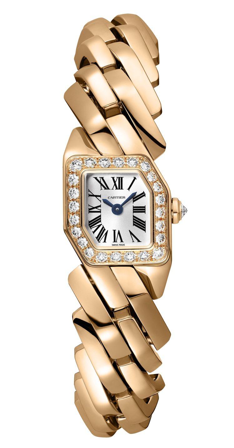 卡地亞Maillon de Cartier玫瑰K金鑽表,95萬5,000元。圖/...