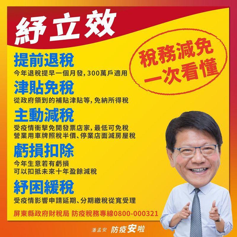 屏東縣長潘溫安在臉書上宣傳財稅局的「防疫稅務專區」。記者翁禎霞/翻攝