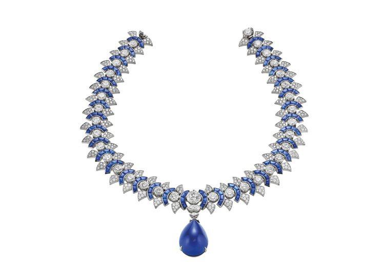 BVLGARI CINEMAGIA系列頂級藍寶石與鑽石項鍊,鉑金鑲嵌40.40克...