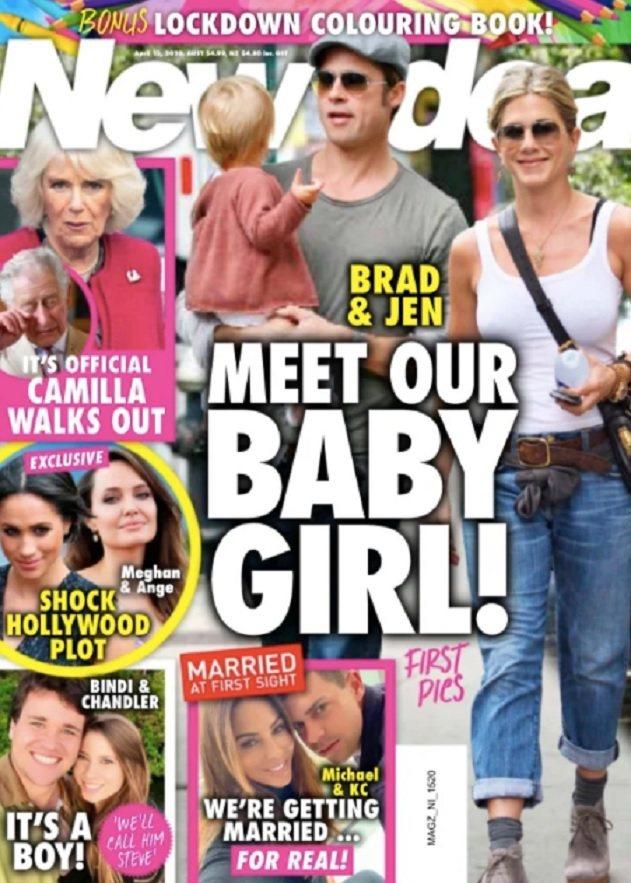 布萊德彼特與珍妮佛安妮絲頓被指秘密透過代理孕母生下一對雙胞胎女兒。圖/摘自New...