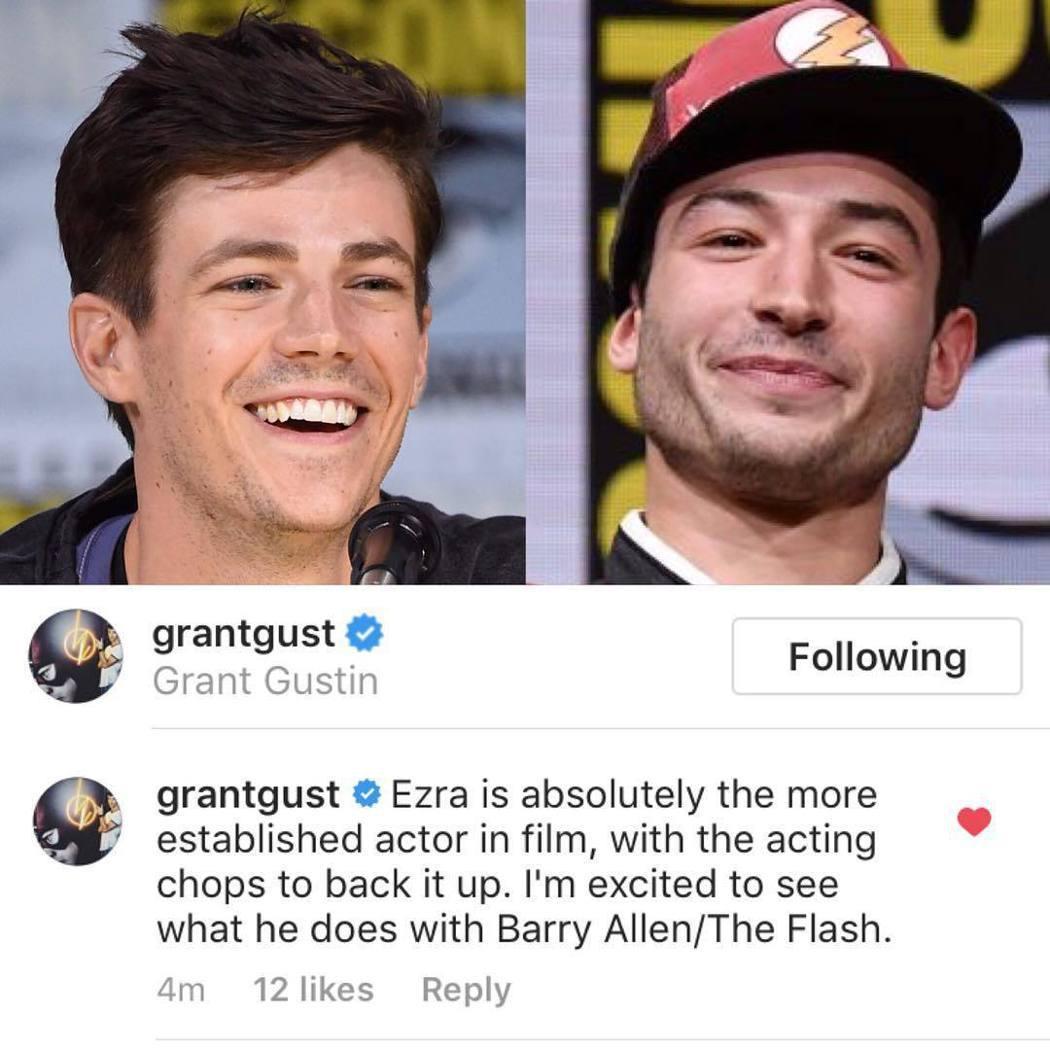 葛蘭高斯汀(左)曾在社群網站上公開力挺伊薩米勒接演電影版「閃電俠」。圖/摘自In...