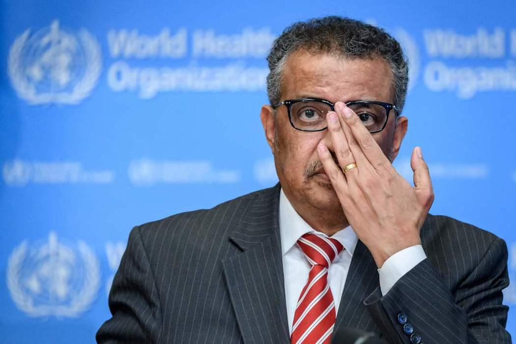 世衛組織秘書長譚德塞八日呼籲不要將疫情問題政治化。(法新社)