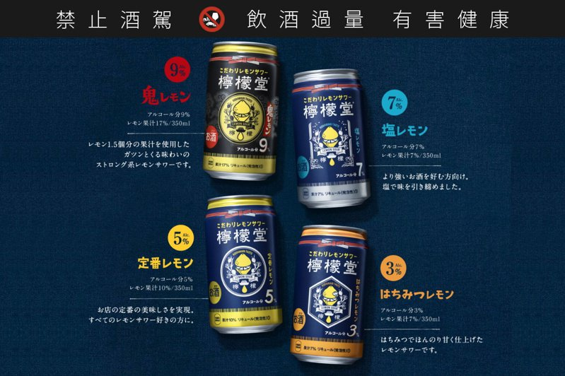 檸檬堂在日本共推出4種不同口味檸檬沙瓦。圖/摘自檸檬堂網站 ※提醒您:禁止酒駕 飲酒過量有礙健康