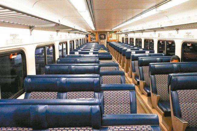 美國大部分人口居家避疫,從巴爾的摩開往華府的列車幾乎全空。 法新社