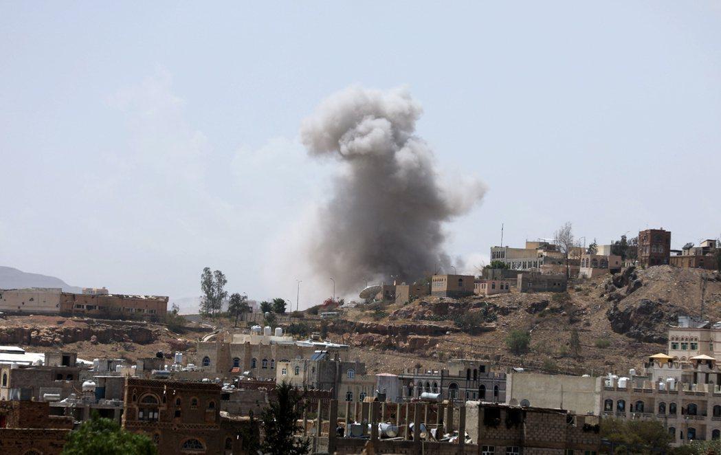 沙烏地空襲葉門的資料照片。 圖/路透社