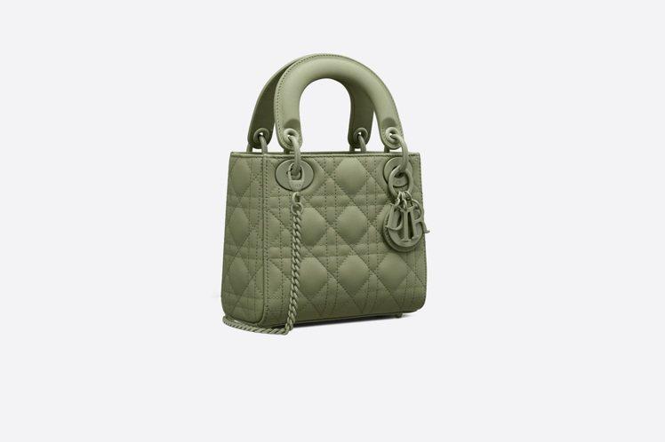 Lady Dior mini Ultra Matte翡翠綠籐格紋小牛皮鍊帶包,售...