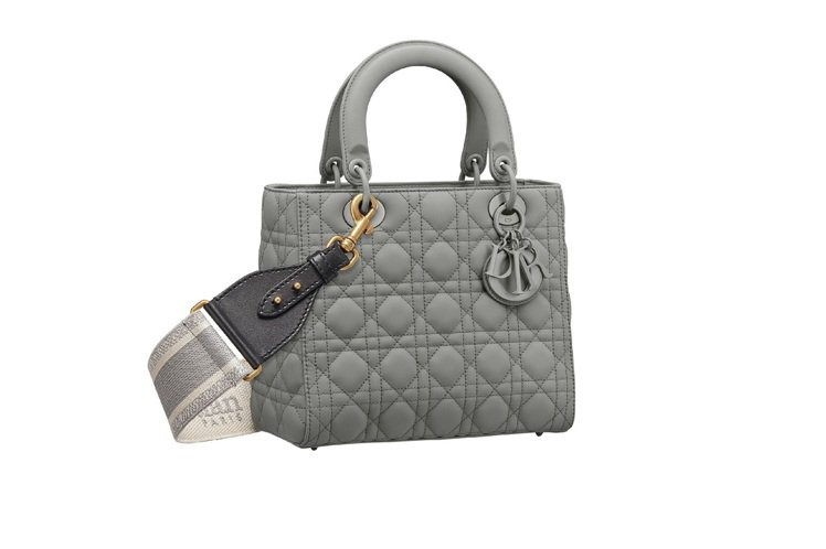 Lady Dior Ultra Matte石灰色籐格紋小牛皮中型提包(背帶另購)...