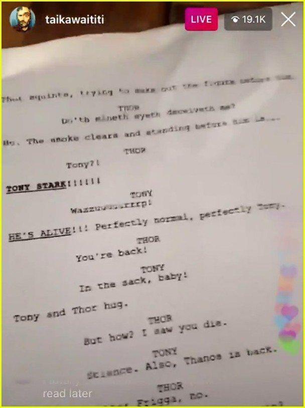 「雷神索爾4」導演塔伊加維提迪公開劇本。圖/摘自IG