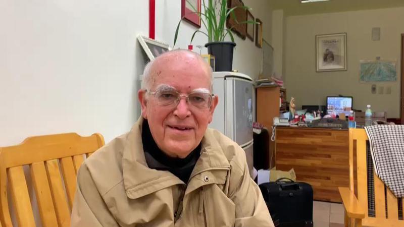 義大利神父呂若瑟今天再以台語、義大利語雙聲帶致謝,善款除幫義大利,也將擴大幫助西班牙等歐洲國家。圖/羅東聖母醫院提供
