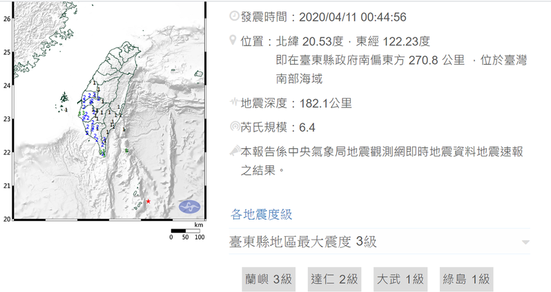 中央氣象局今天凌晨發布地震警訊,凌晨0時44分56秒,台東縣政府南偏東方270.8公里南部海域發生規模6.4地震。記者羅紹平/翻攝
