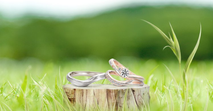 K.UNO木目金系列的Arietta Fianco訂婚鑽戒及對戒,透過代代相傳的...