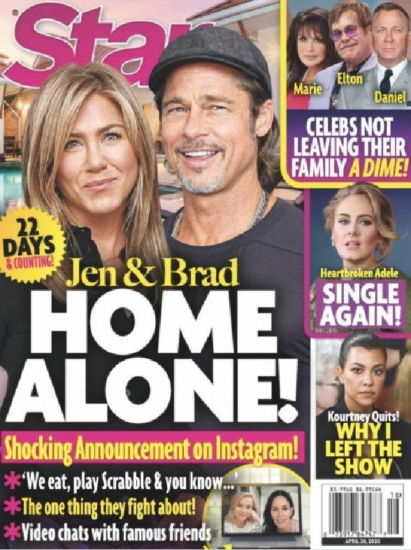 布萊德彼特與珍妮佛安妮絲頓被指居家防疫期間藉機重燃愛火。圖/摘自Star