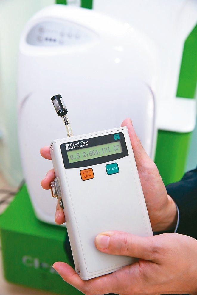 居家髒空氣不一定肉眼能看見,透過粒子檢測儀可檢測到0.3微米懸浮微粒指數。 記者...
