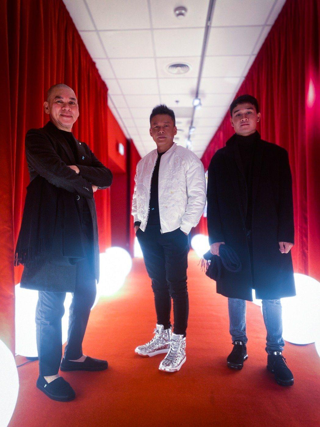 蔡明亮(左起)、李康生、亞儂弘尚希日前才出席柏林影展活動。圖/汯呄霖電影提供