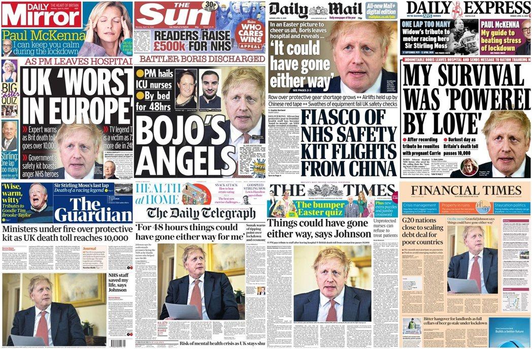 因染上新型冠狀病毒一度重症加護的英國首相強生(Boris Johnson),12...