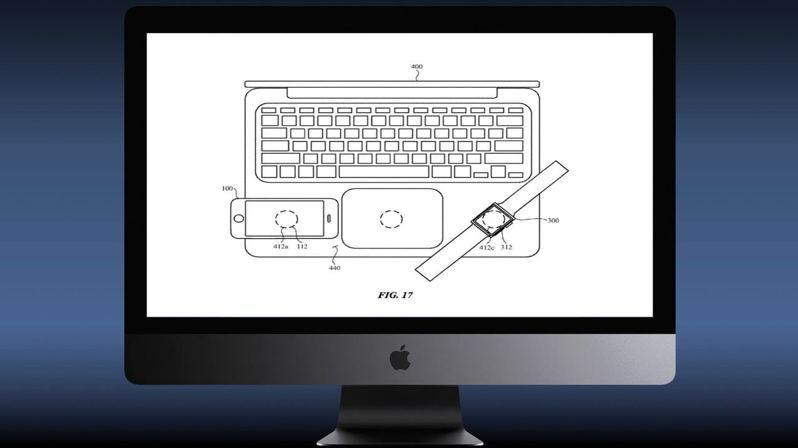 專利提議將無線充電器嵌入到一系列筆電的觸控板兩側,使到MacBook無需電線即可為Apple Watch等裝置充電。圖/cultofmac.com