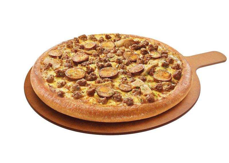 必勝客新推出「未來媽媽ㄟ滷肉比薩」,單點大比薩每個399元。圖/必勝客提供
