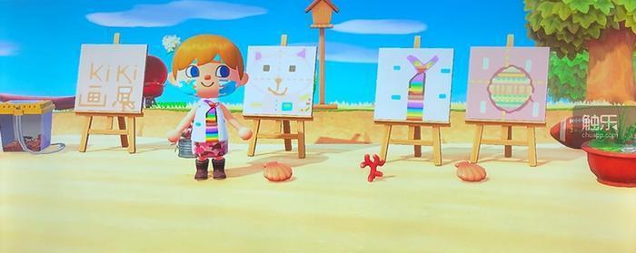 我女兒在《動森》中舉辦的個人沙灘畫展