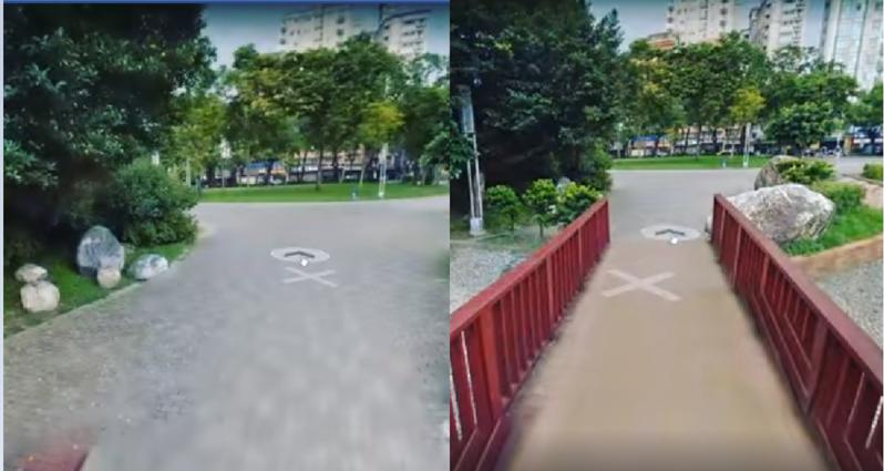 網友使用Google Map街景服務,在家操作滑鼠,假裝真的在外趴趴走。圖擷自facebook