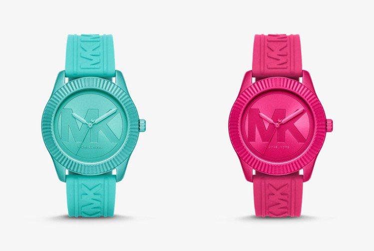像打翻調色盤的螢光桃紅和湖水藍,讓Maddye手表像隨身造型的甜美糖果。圖 / ...