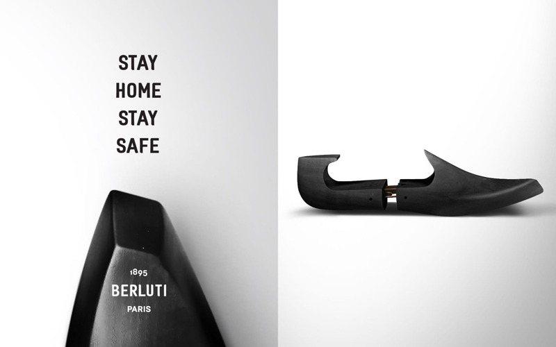 Berluti僅留下鞋撐、沒有商品的抽象視覺,在感性中訴求Stay Home、Stay Safe的主張。圖 / 翻攝自 ig @Berluti。