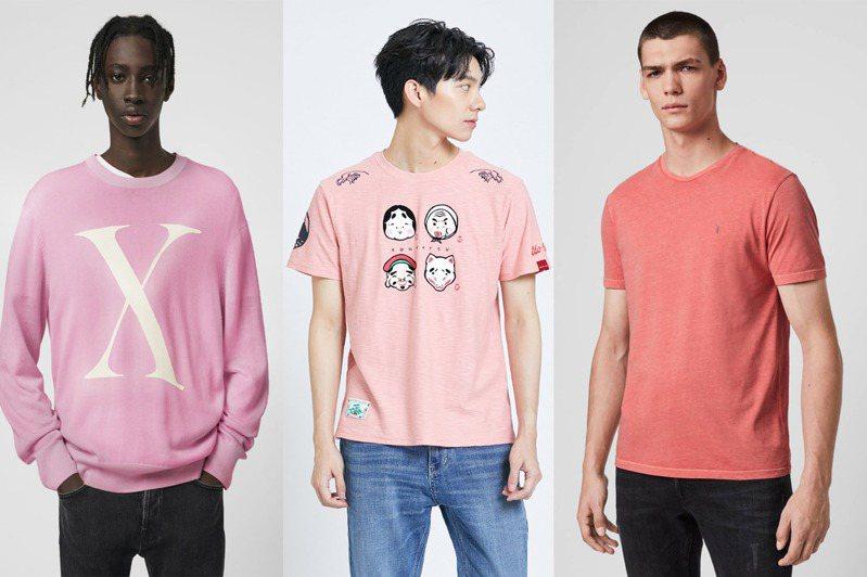 誰說粉紅色專屬女性?男性穿上身,不僅沒有給人女性化的感受,反而更增添魅力。圖/Edwin、AllSaints提供