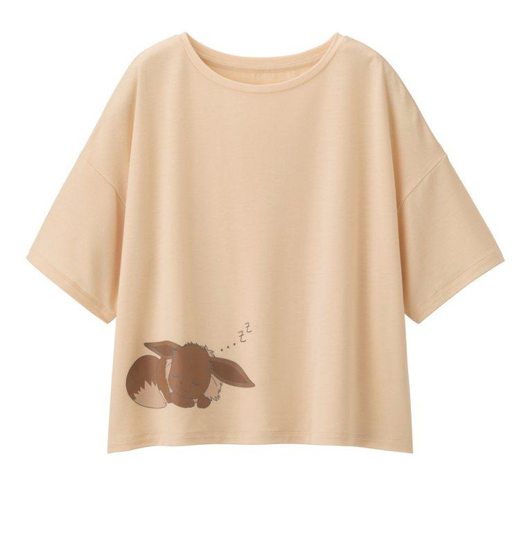 GU與寶可夢聯名系列女裝家居服組790元。圖/GU提供