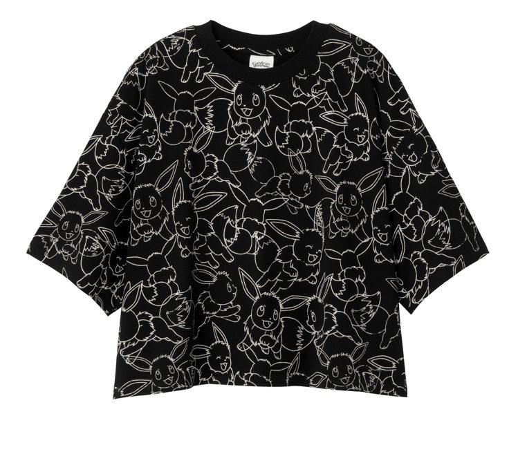 GU與寶可夢聯名系列女裝短版T恤390元。圖/GU提供