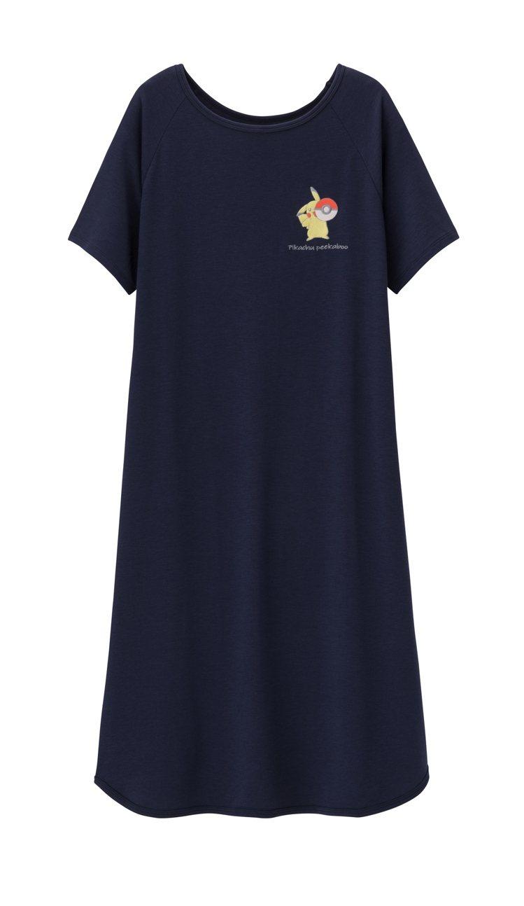 GU與寶可夢聯名系列女裝家居連身裙790元。圖/GU提供