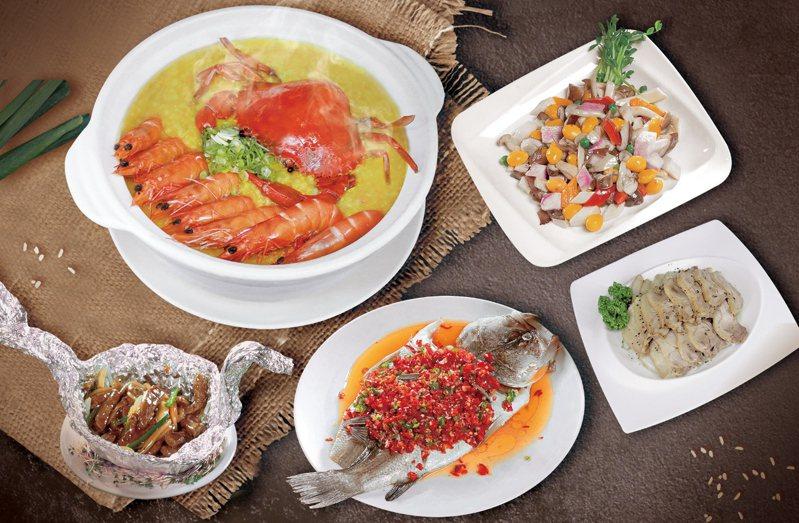 晶宴會館「四人海鮮砂鍋粥套餐」,外帶8折外,還適用二項優惠活動。業者/提供