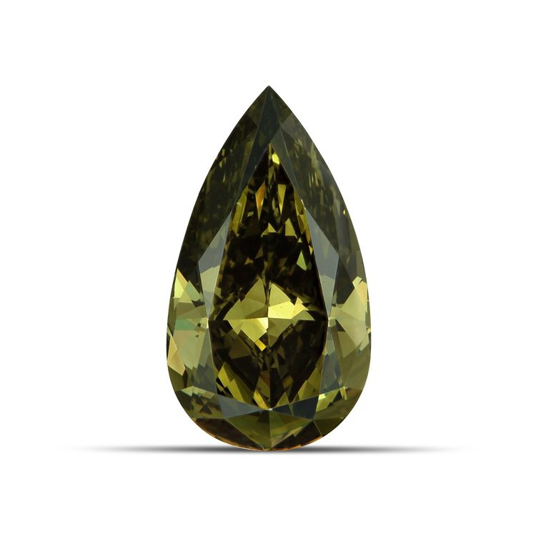 3.17克拉梨形切割暗彩帶灰綠色的黃鑽,約700多萬。圖/DE BEERS提供