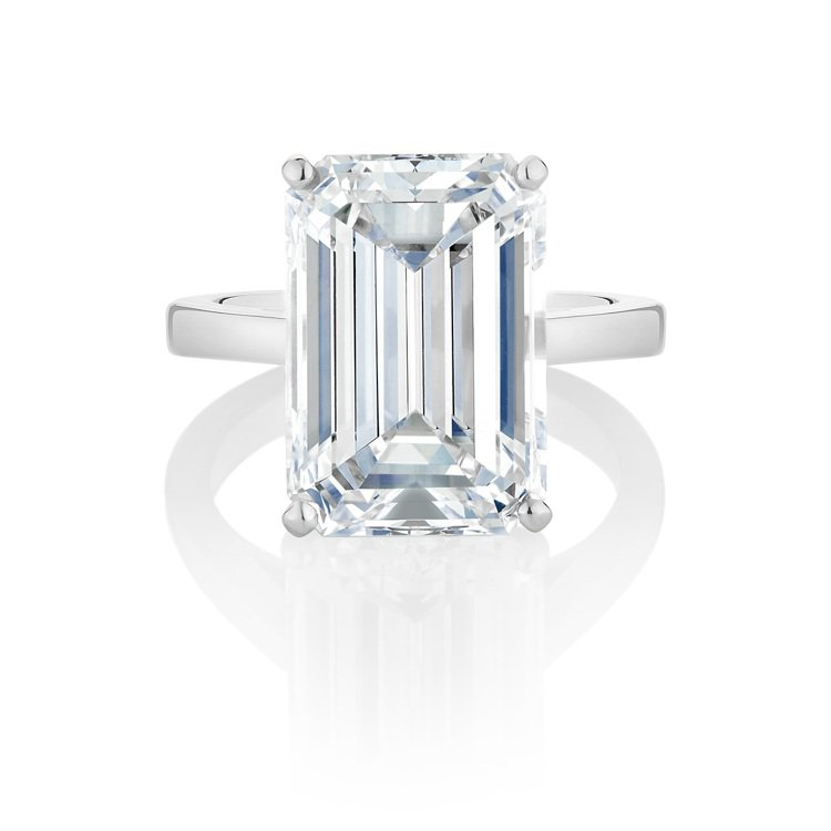 De Beers DB Classic祖母綠形切割單鑽戒指,鉑金鑲嵌11.12克...