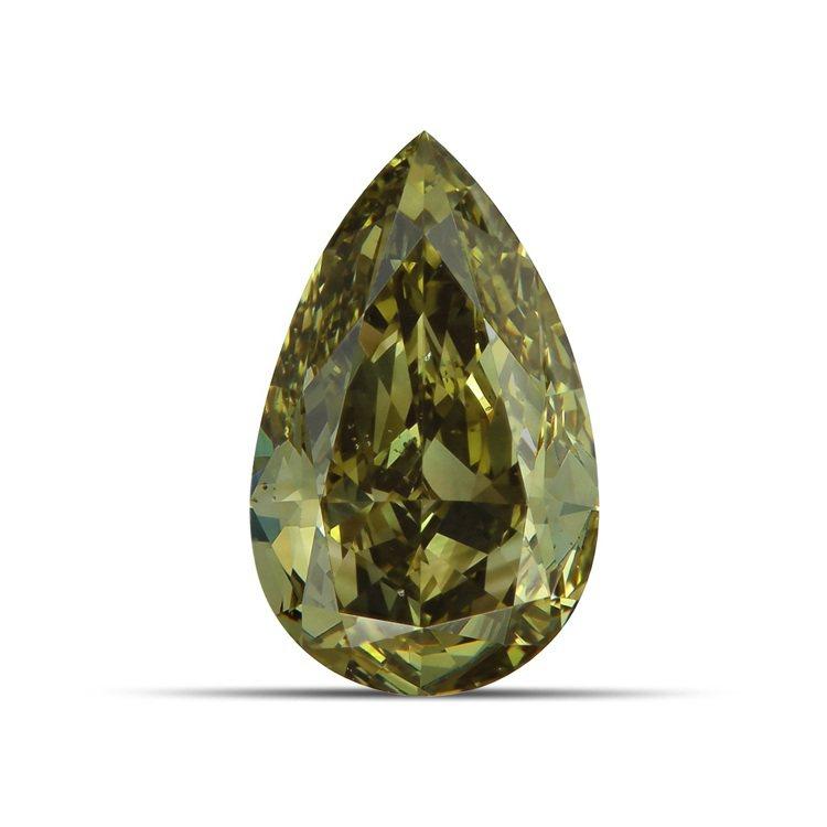 1.12克拉梨形切割深彩帶灰黃色的綠鑽,約100多萬。圖/DE BEERS提供