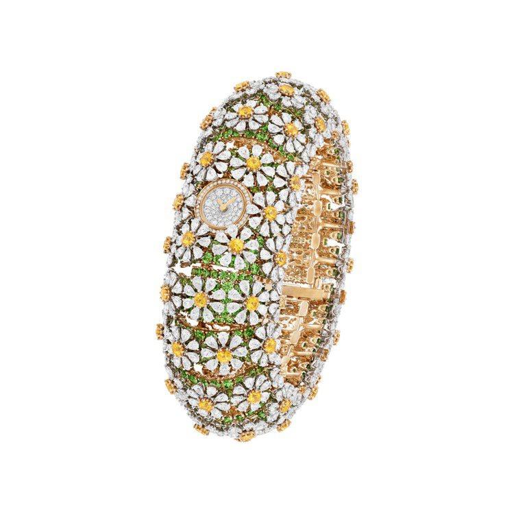 梵克雅寶Pâquerette腕表,黃K金鑲嵌黃色剛玉、沙弗萊石、鑽石,價格店洽。...