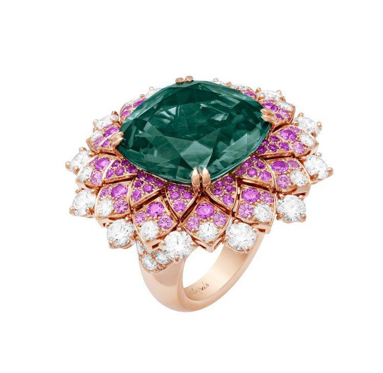 梵克雅寶Éclosion Précieuse戒指,玫瑰金鑲嵌21.60克拉的枕形...