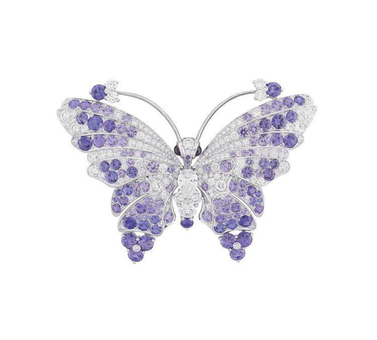 梵克雅寶Mélissa butterfly胸針,白K金鑲嵌淡紫色剛玉與鑽石,價格...