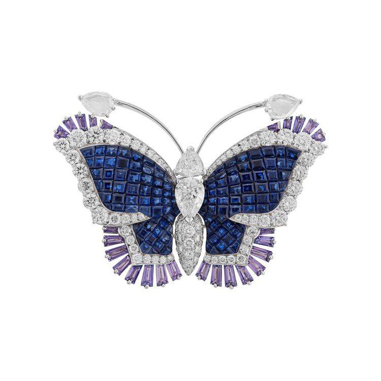 梵克雅寶Éventails butterfly胸針,白K金與玫瑰金傳統隱密式鑲嵌...