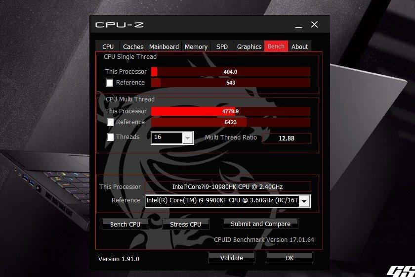 CPU-Z與當今旗艦型桌機、筆電常用的Core i9 9900KF處理器進行PK...