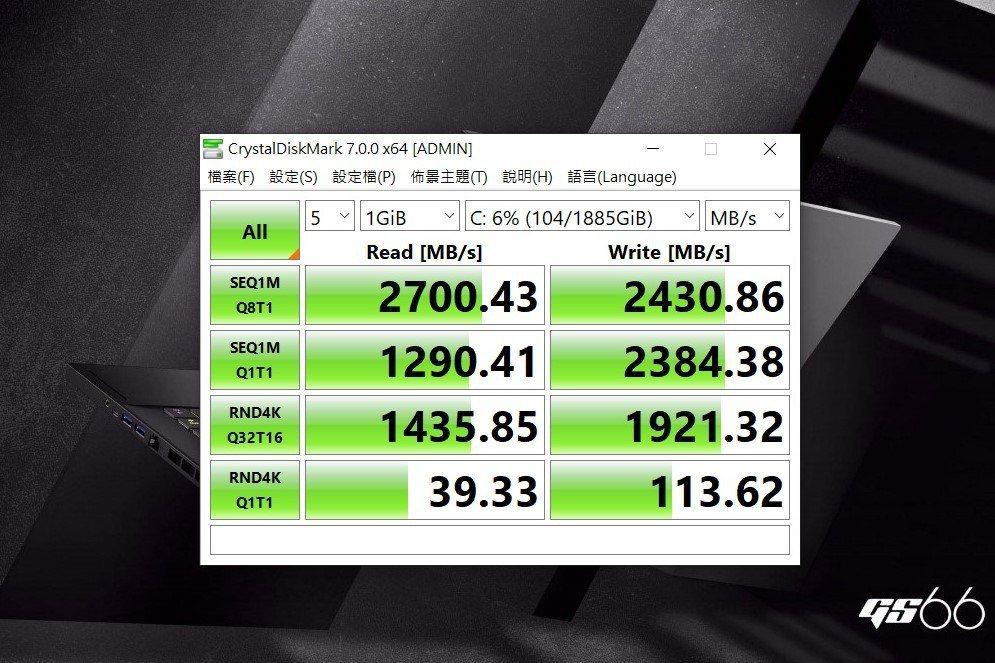 硬碟採用三星的2TB M.2 SSD ,讀取表現不俗。 彭子豪/攝影