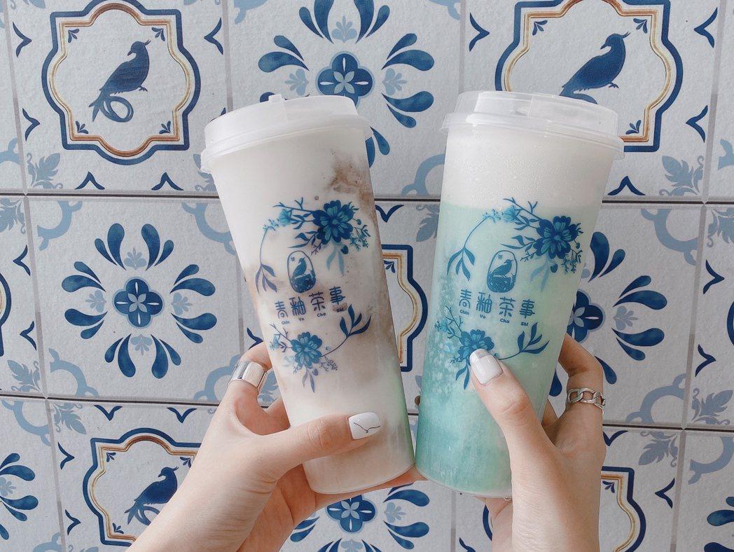 青釉茶事人氣商品「紫釉葡萄奶蓋」(左)及店內招牌主打「青花瓷奶蓋」 (右)。