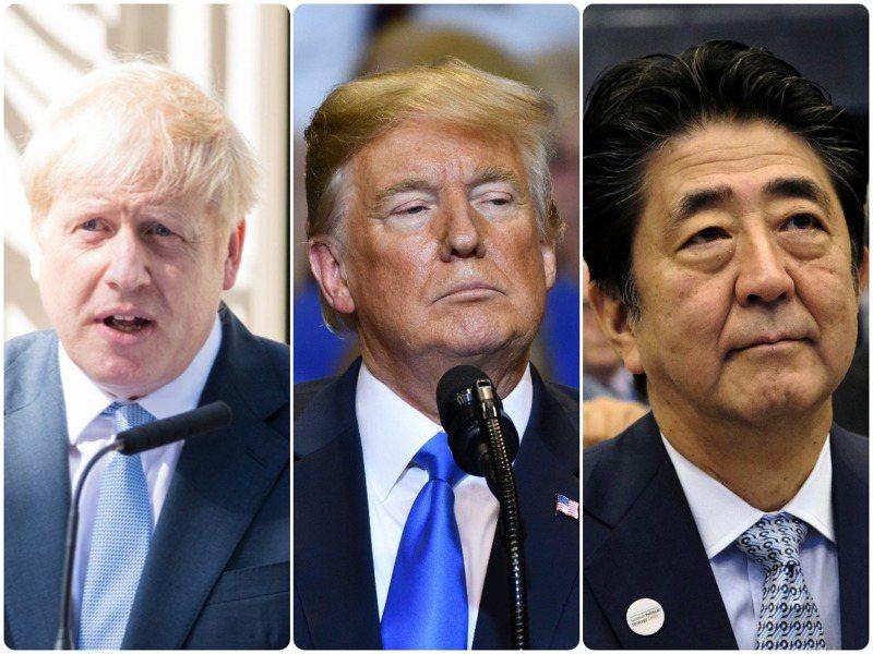 英國首相強生、美國總統川普、日本首相安倍晉三 。(由左至右)圖取自shutterstock