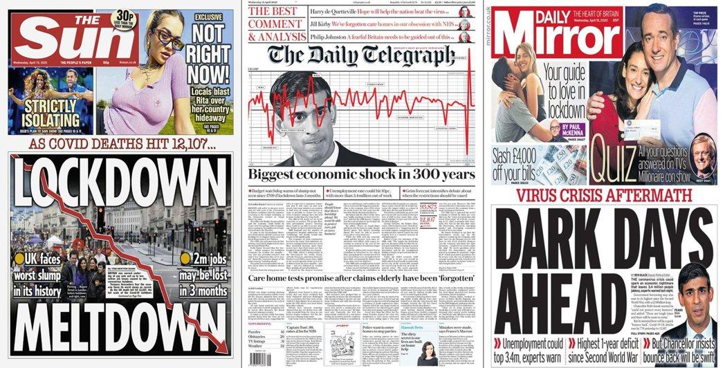 英國恐遭遇自公元1709年、有記錄以來承受最重的「經濟危機」? 圖/英國各報頭版